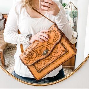 Vintage Large Hand Tooled Leather Bag Brown